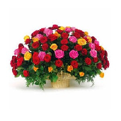 MIX ROSES BASKET 75 FLOWERS