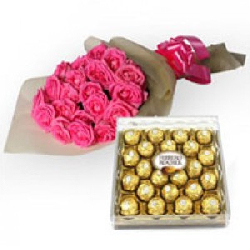 24 Pink Roses With 24 Pcs...