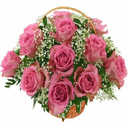 Pink Roses Basket 12 Flowers