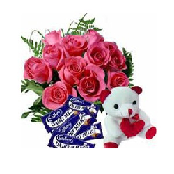 24 Pink Roses With Cadbury...