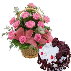 18 Pink Roses Basket With 1...