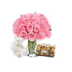 Vase Of 24 Pink Roses With...