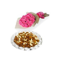 24 Pink Roses Bouquet With...