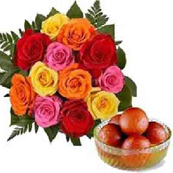 12 MIX ROSES BUNCH WITH 1KG...