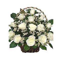 Basket Of 30 White Roses
