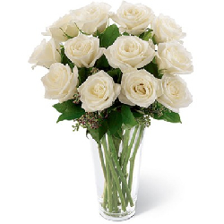 One Dozen White Roses In Vase
