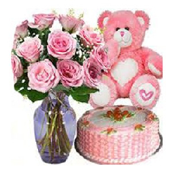 15 Pink Roses in Vase with...