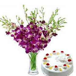 12 Purple Orchids Vase With...
