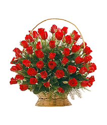 Basket of 100 or 101 red roses