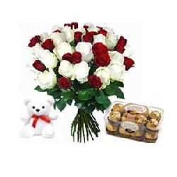 Red and white roses bunch...