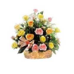Mix roses basket 18 flowers